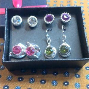 👑 Sparkling Shine 4 Pair Earrings Set NEW